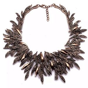 Bronze Metal Leaf Chunky Statement Necklace